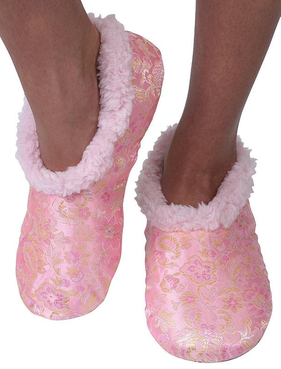 Snoozies Womens Asian Fusion Sherpa Fleece Non Skid Slipper Socks Light Pink Small WAF-004-LTPI-SMALL
