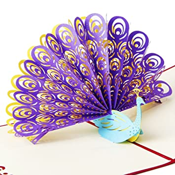 Osunp Peacock 3d Pop Up Greeting Card Handmade Birthday Card Wedding