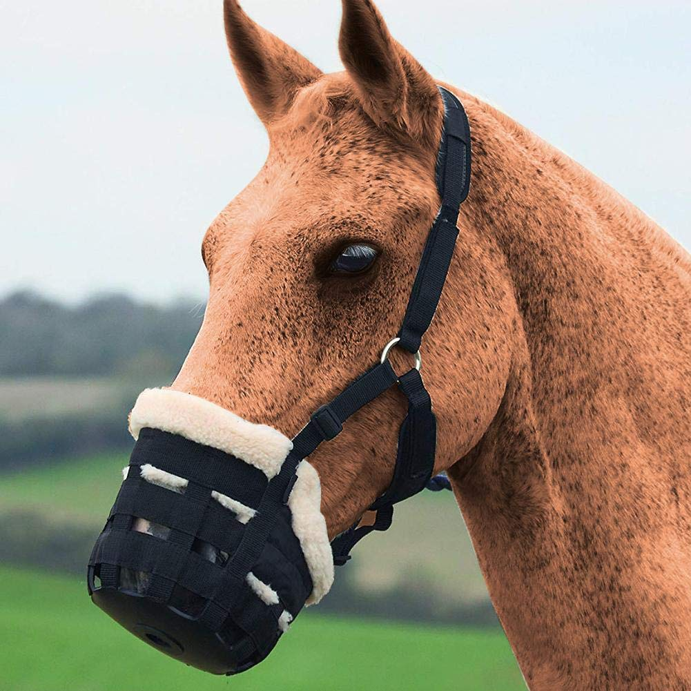 Keptfeet Safety Horse Grazing Muzzle with Wear-resistant Environmentally Friendly Odorless Plush Horse Mask Equestrian Supplies