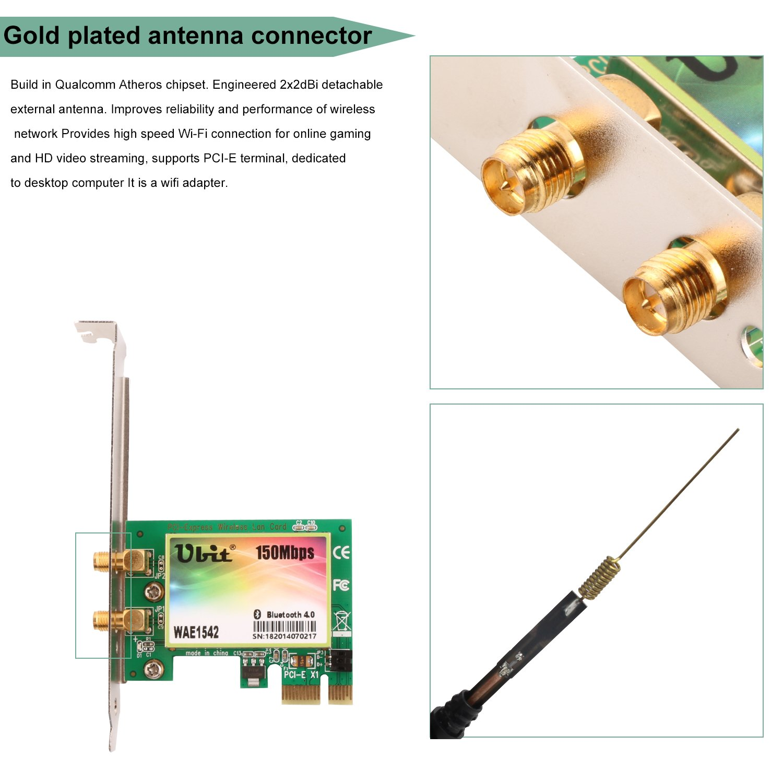 Network Card, Wireless Network Card, Ubit 1542 PCI-E WI-FI
