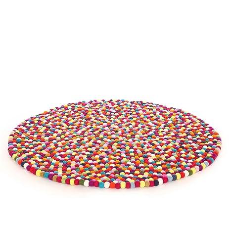 Captivating Original Happy As Larry Multicolor Felt Ball Rug   Handmade In Nepal (3u00273