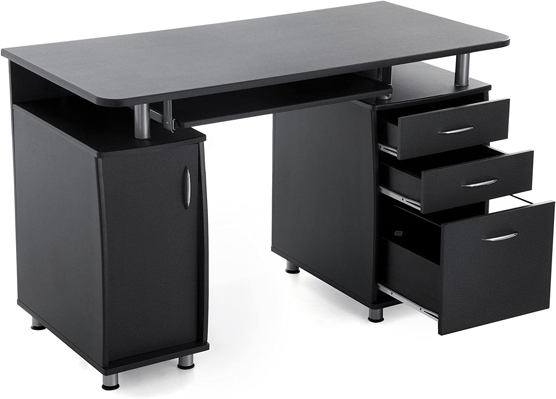 MDF,Schwarz,121 x 60 x 76 cm Songmics Computertisch mit Tastaturauszug Einem Unterschrank