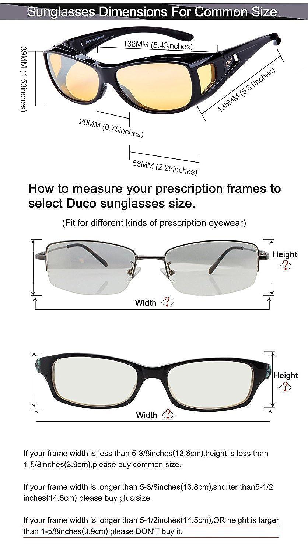 Amazon.com: Duco Myopia Night Vision Glasses Wraparound HD Prescription  Glasses Night Driving Polarized 8953Y Common Size Black: Clothing