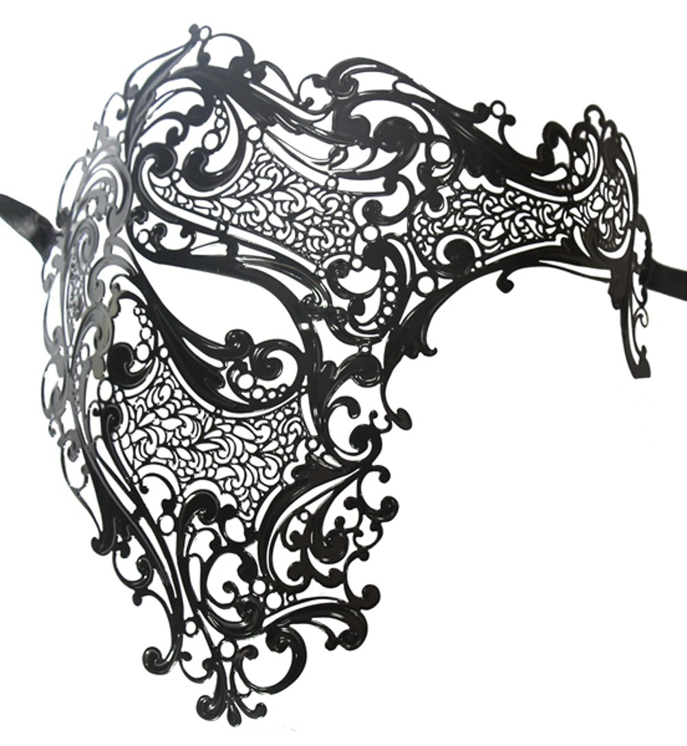 Luxury Mask Men's Signature Phantom Of The Opera Half Face Metal Mask