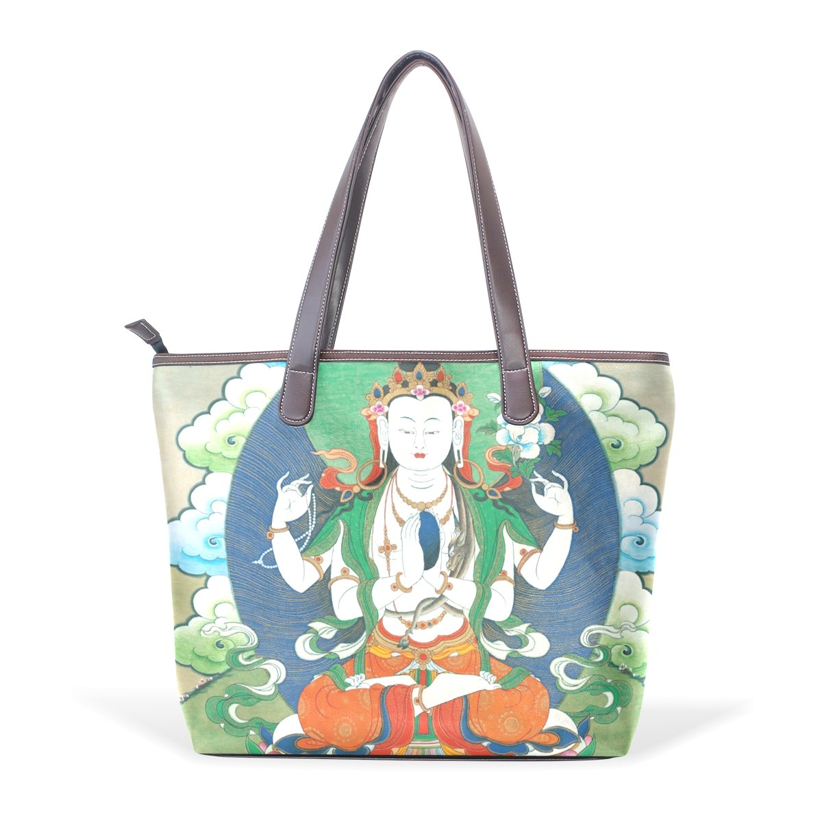 Vintage Distressed Tibetan Buddhist Thangka Womens Fashion Large Tote Ladies Handbag Shoulder Bag