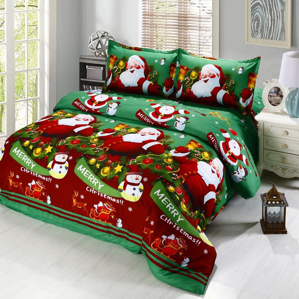 Anself 4PCS Santa Claus Bedding Sets, 1 x Duvet Cove, 1 x Bed Sheet, 2 x Pillow Case, Queen Size, Green