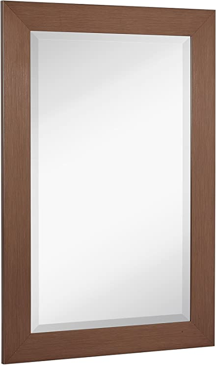 Hamilton Hills New Bronze Copper Modern Metallic Look Rectangle Wall Mirror Brushed Metal Appearance Contemporary Simple Design Beveled Glass Vanity Bathroom Hanging Horizontal Or Vertical Kitchen Dining Amazon Com