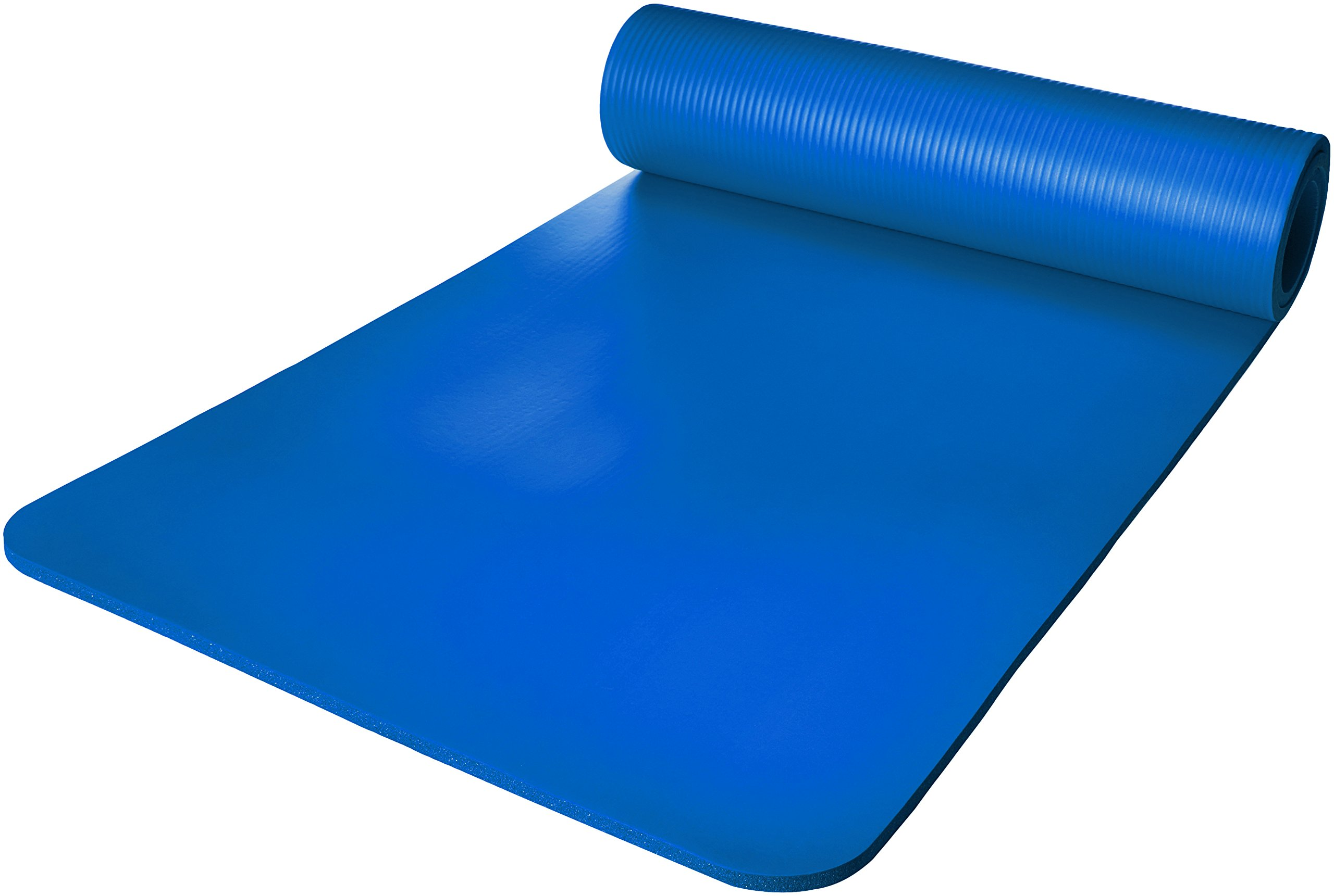 AmazonBasics 1/2 Inch Extra Thick Exercise Mat with Carrying Strap, Blue