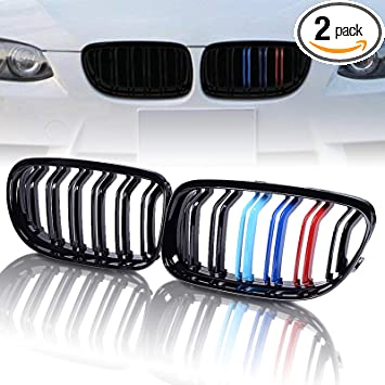 Matte Black For BMW E90 E91 LCI 325i Front Grille M-Color Metal Style 2009-2011