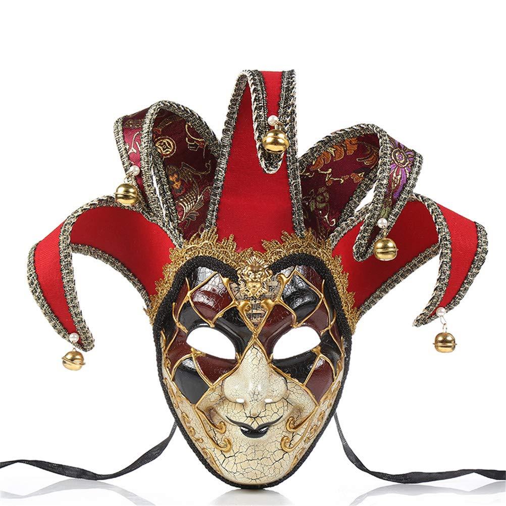 Jiahe Maschere da Clown Veneziani Masquerade Costume da Ballo per Feste in Maschera, Accessorio Unico, Taglia Unica,Red