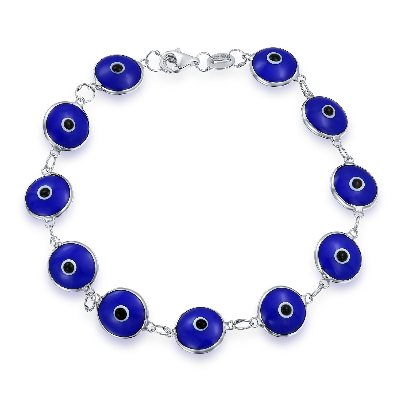 Bling Jewelry 925 Sterling Silver Navy Blue Glass Evil Eye Bracelet 7in WH-evileye-BLR