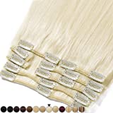 Extension Cheveux Naturel a Clip 8 Pcs Extensions de Cheveux Humains (65-110g) 100% Remy Human Hair Extension Clip