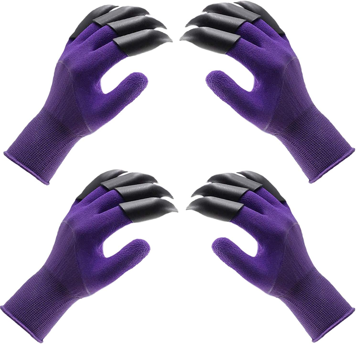 BEADNOVA Garden Gloves with Claws Digging Gloves Claw Gardening Gloves for Digging Gardening Planting (2 Pairs, Purple)