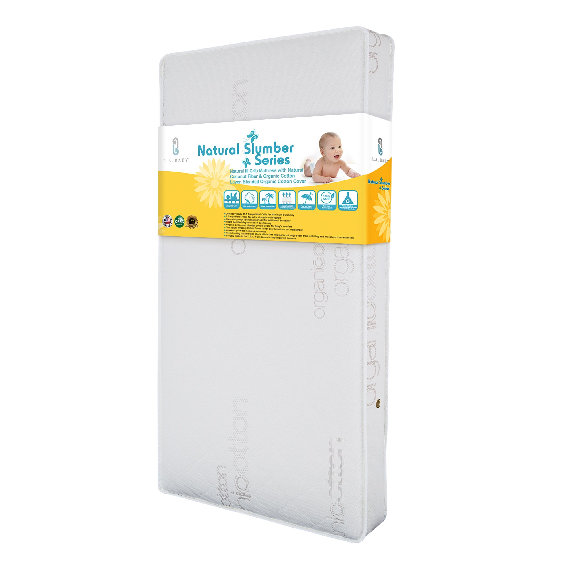 LA Baby Natural III Crib Mattress with Natural Coconut Fiber & Organic Cotton Layer, Blended Organic Cotton Cover by LA Baby