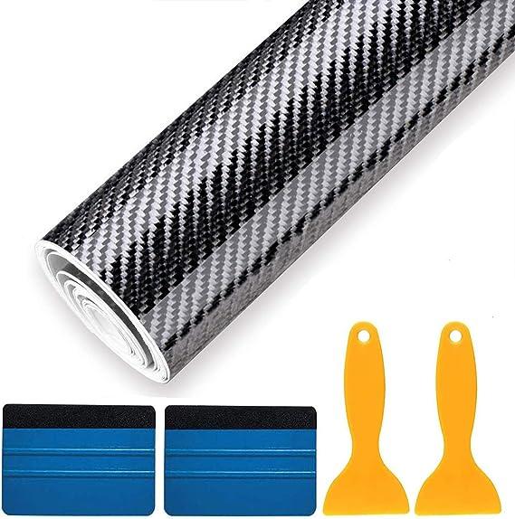 Fansport 6d Auto Folie Aufkleber Wasserdicht Selbstklebende Kohlefaser Vinyl Schwarz Lackschutz Folie Deko Folie Auto