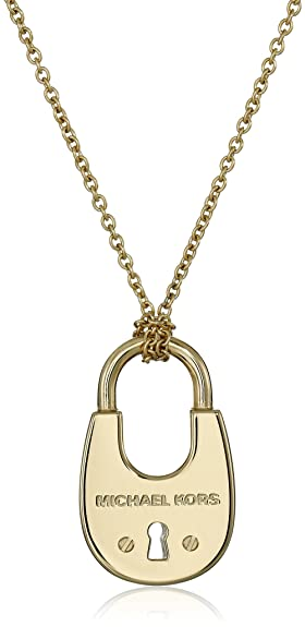 tone kors pendant michael com gold logo amazon dp necklace heart jewelry