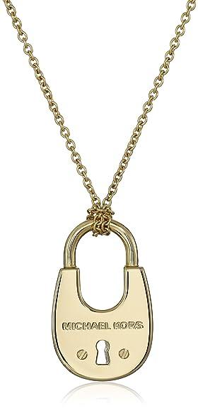 Amazoncom Michael Kors GoldTone Padlock Pendant Necklace 31 2
