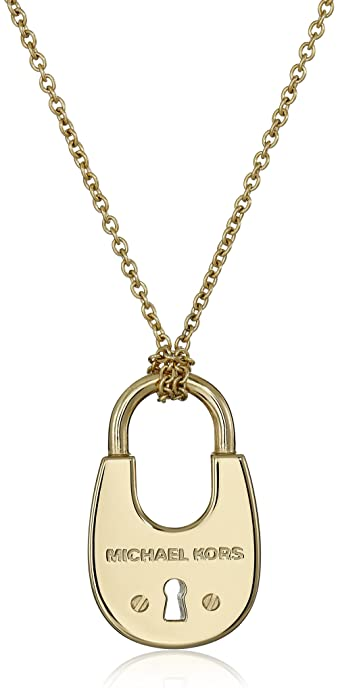 fefb7d47807b Amazon.com  Michael Kors Gold-Tone Padlock Pendant Necklace