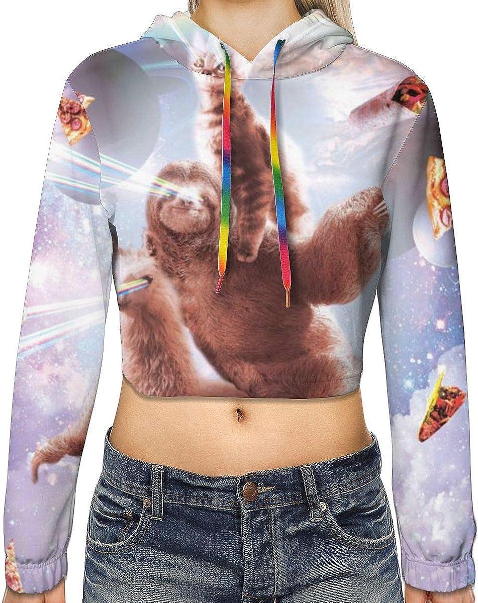 Womens Hoodie Sweater Laser Eyes Cat Sloth Llama Crop Top Sweatshirt Lumbar Sweatshirt Cropped Hoodie