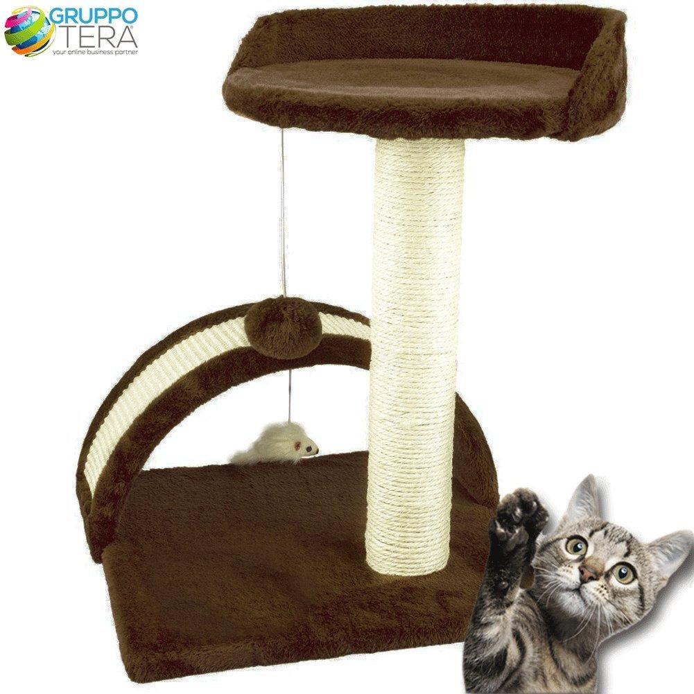 Bakaji Árbol para gatos marrón graffiatoio de Velboa suave con poste Sisal