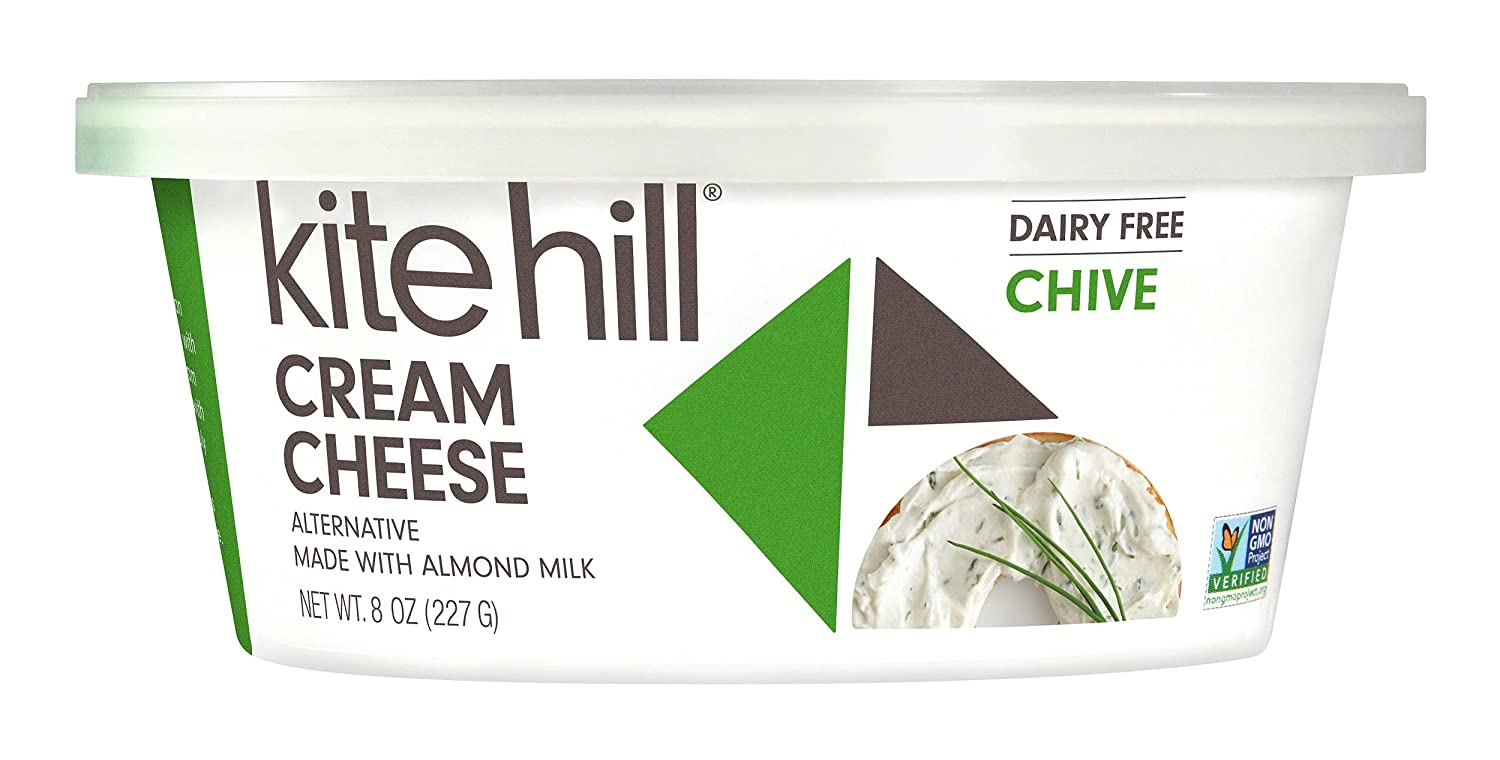 Here is what the Kite Hill Chive cream cheese made from almond milk looks like.