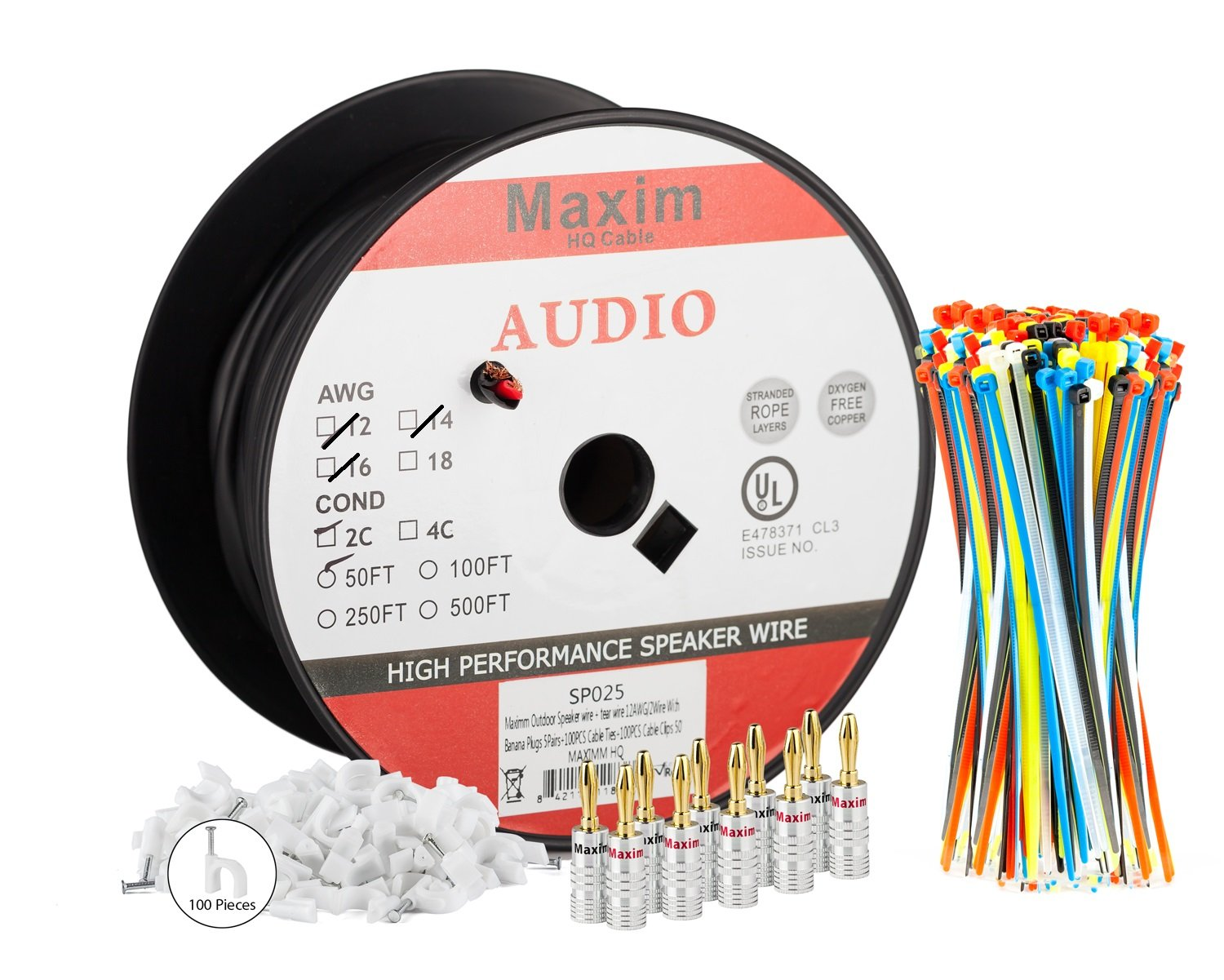 Amazon.com: Maximm Outdoor Speaker Wire - 50 Feet - 12AWG CL3 Rated ...