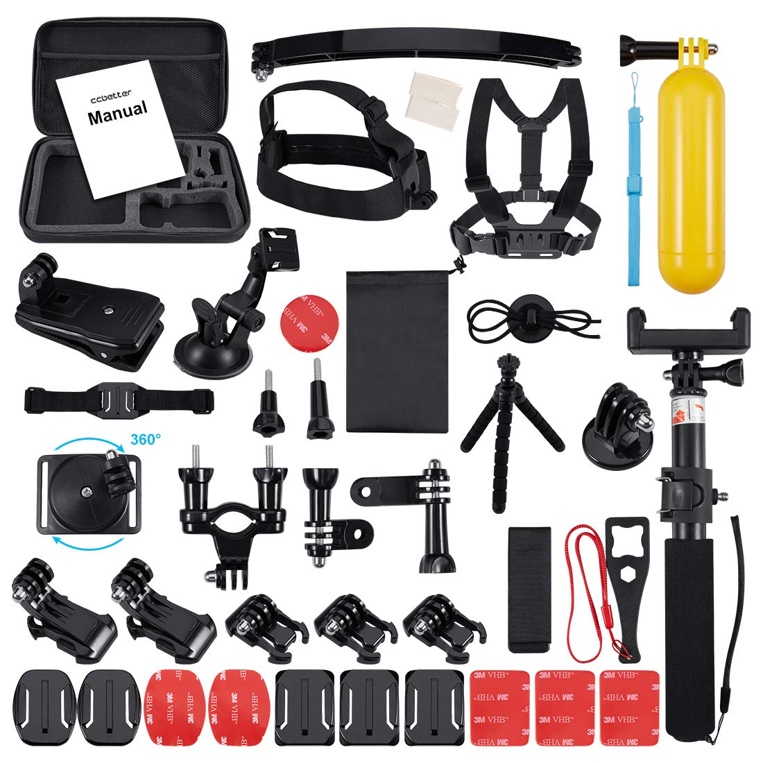 Accessories For Gopro 52 IN 1, Ccbetter Action Camera Mounts