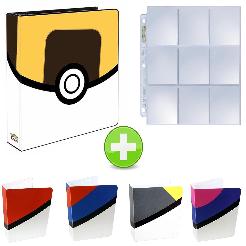 Assortmart Pokemon 3-Ring Binder with Mini Binder Album Set of 4 Poke Ball Great Ball Ultra Ball and Master Ball + 25 9-Pocket Pages