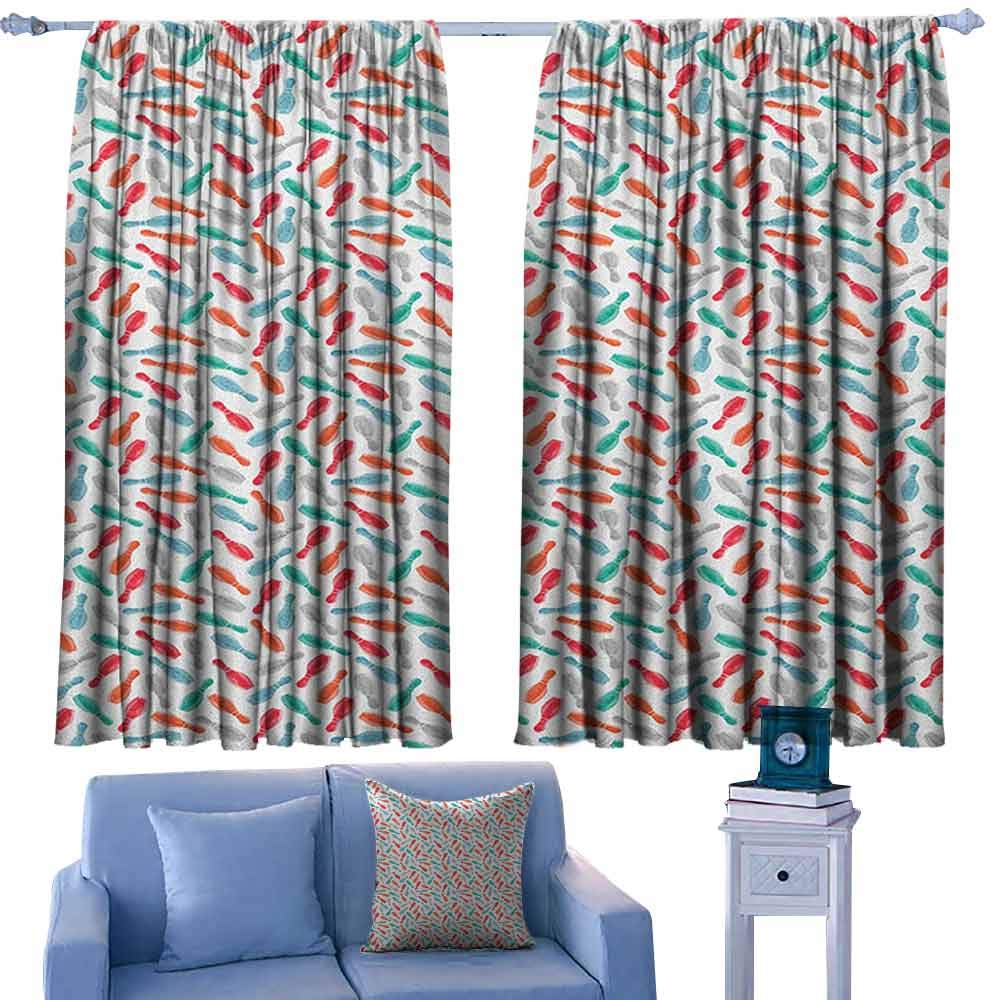 ParadiseDecor Bowling Curtains Colorful Pins Bowling Club Sports Equipment Leisure Time Watercolor Style Print,Sliding Glass Door Drapes,W52 x L95 Inch by ParadiseDecor