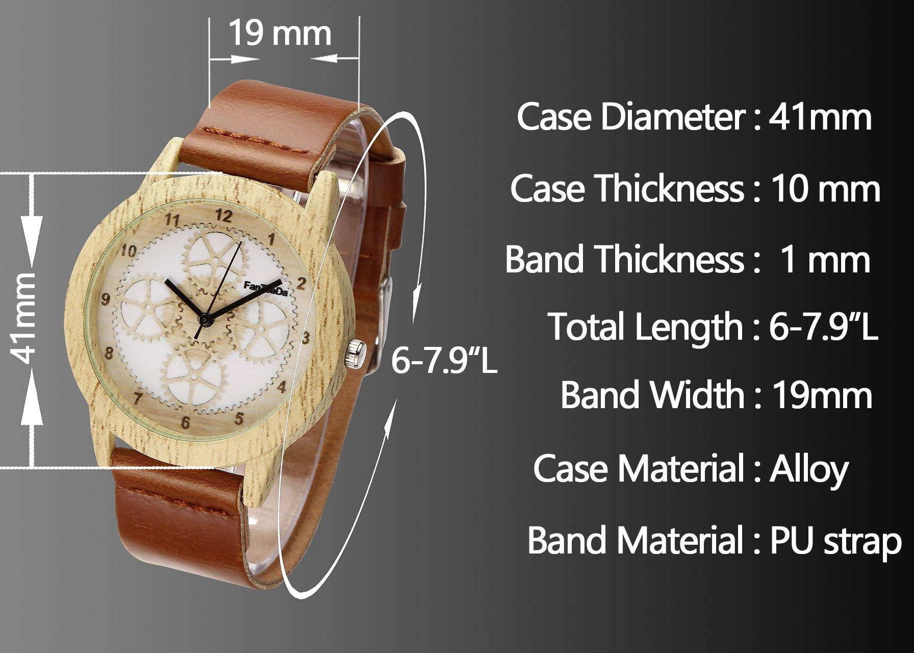 JSDDE Uhren,Vintage Holz-Muster Zahnrad Armbanduhr Damenuhr Kleid Uhr PU Lederarmband Analog Quarzuhr,Braun