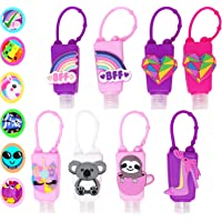 KINIA 8 Pack Empty BFF Kids Hand Sanitizer Travel Size Holder Keychain Carriers ~ 8-1 fl oz Flip Cap Reusable Portable Empty Bottles (8-Variety Pack BFF)