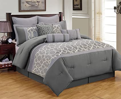 king amazon gray piece com sets kitchen dp comforter aisha home set