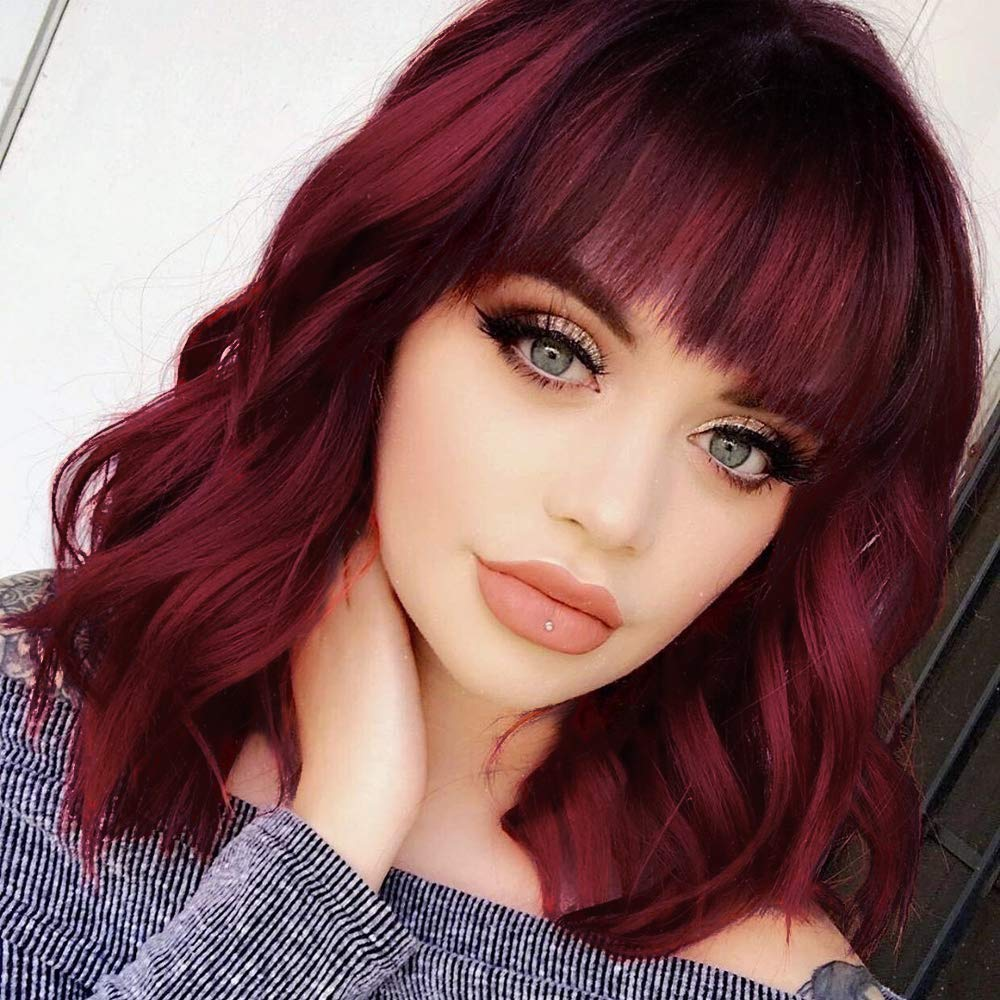 Amazon Com Stamped Glorious Curly Wavy Short Bob Wig With Bangs Shoulder Length Burgundy Synthetic Wigs Dark Red Wig Natural Wigs 14 Inch For Women Beauty