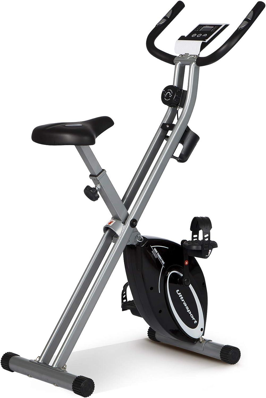 Ultrasport Unisex F-Bike Advanced, pantalla LCD, entrenador casero plegable, niveles de resistencia ajustables, con sensores de pulso de mano, entrenador de bicicleta plegable, para atletas y mayores: Amazon.es: Deportes y aire libre