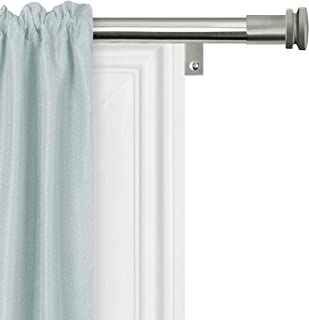 product image for Zenna Home, Brushed Nickel Smart Measuring Easy Install Adjustable Drapery Window Rod, 18 to 48 in, with Cap Finials, 48 inches