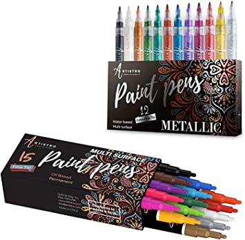 12 Farben Farbstifte Permanent Metallic Markers Pen für Rock Painting Ceramic