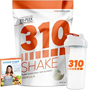 Vanilla Meal Replacement   310 Shake Protein Powder is Gluten and Dairy Free, Soy Protein and Sugar Free   Includes Clear 310 Shaker and Free Recipe eBook (Digital)   28 Servings