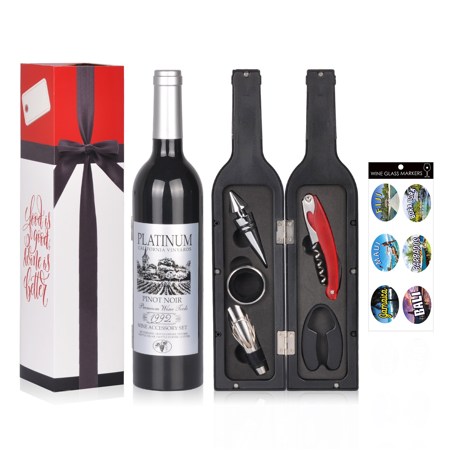 Wine Accessories Gift Set - 5 Pcs Deluxe Wine Corkscrew Opener Sets Bottle Shape in Elegant Gift Box, Great Wine Gifts Idea for Wine Lovers, Friends, Anniversary Friend of Vines