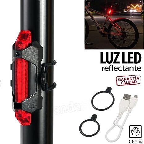Luz trasera señalización bicicleta BICI RECARGABLE USB con 5 LED ...