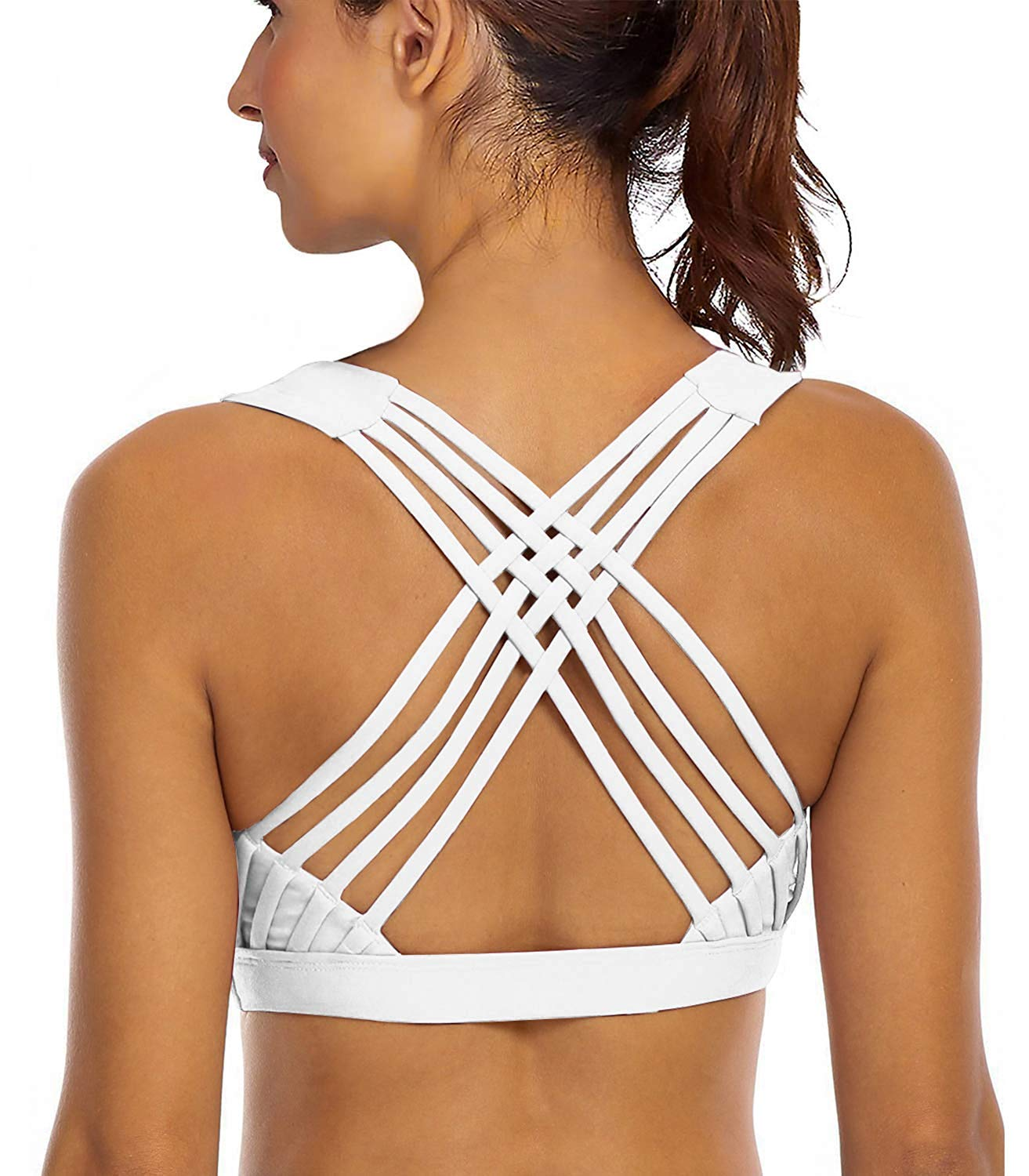 YIANNA Sports Bras for Women - Medium Support Strappy Sports Bra Padded for Yoga, Running, Fitness - Athletic Gym Tops,YA-BRA147-White-M by YIANNA