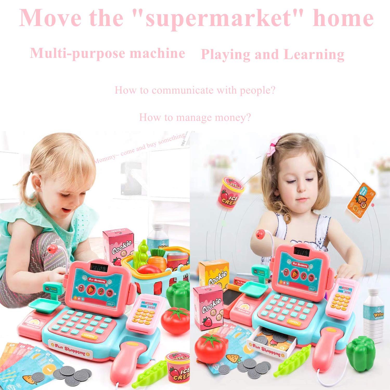 YYoomi Pretend Play Educational Cash Register Toy Classic Counting Toy with Microphone/ Calculator/ Scanner/ Sound/ Music for Kids & Toddlers & Preschoolers by YYoomi (Image #2)