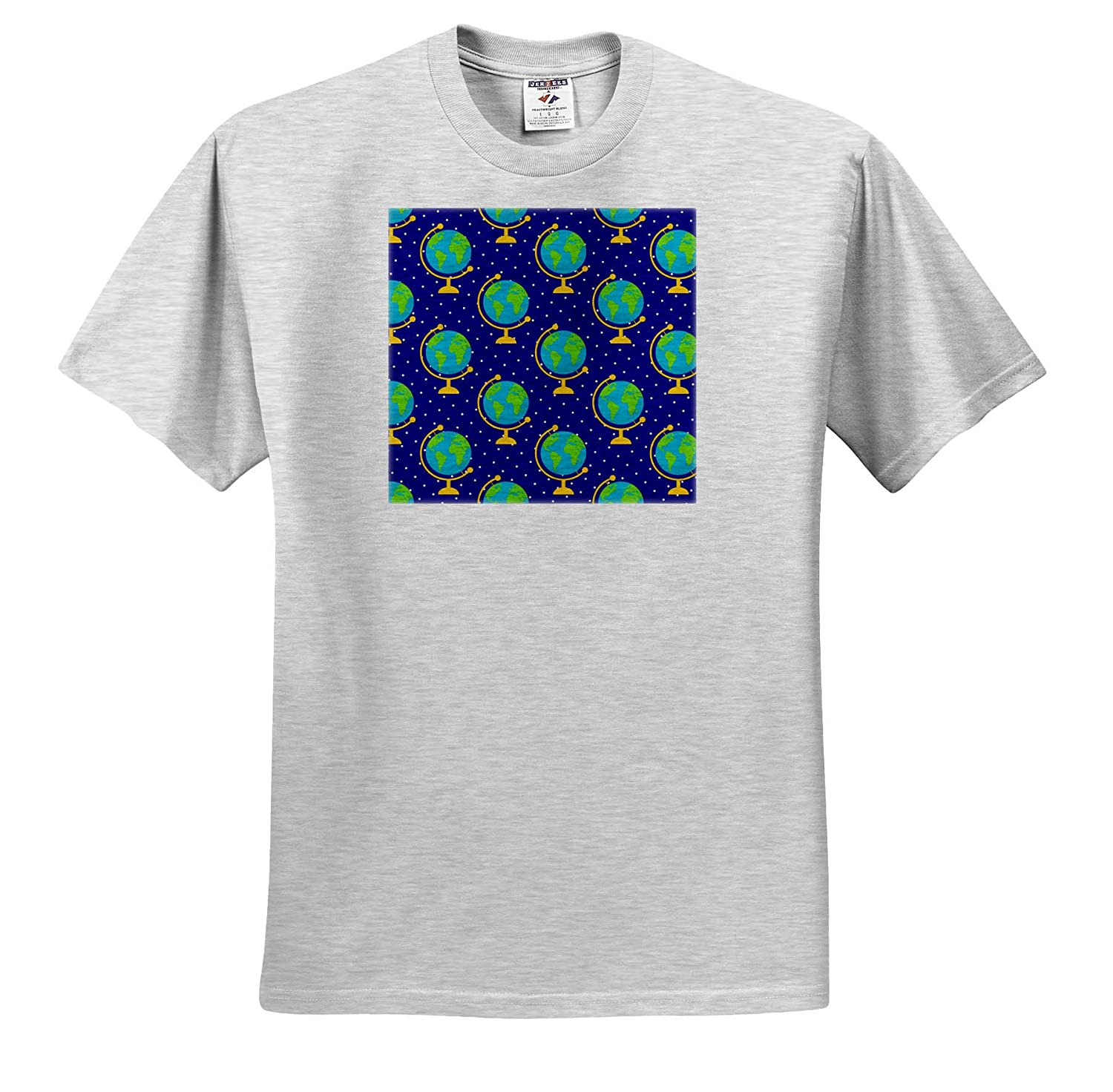 T-Shirts Pattern Back to School Back to School Pattern of Terrestrial Globes on Blue Background 3dRose Alexis Design