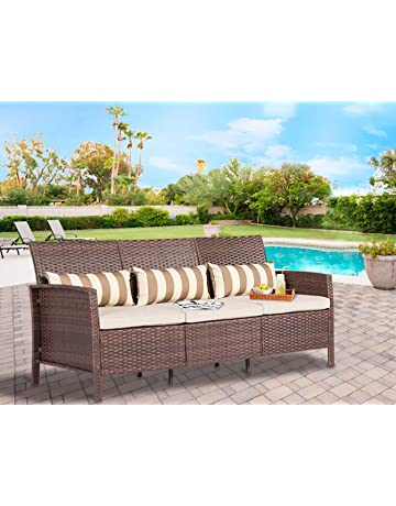 2eeb83f7620 Solaura Outdoor Furniture Brown Wicker Patio Sofa (Seats 3) Light Brown  Cushions   Classic