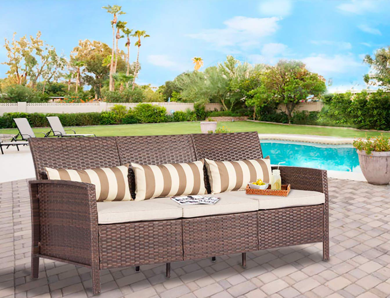 Solaura Outdoor Furniture Brown Wicker Patio Sofa (Seats 3) Light Brown Cushions & Classic Gold Stripe Throw Pillows