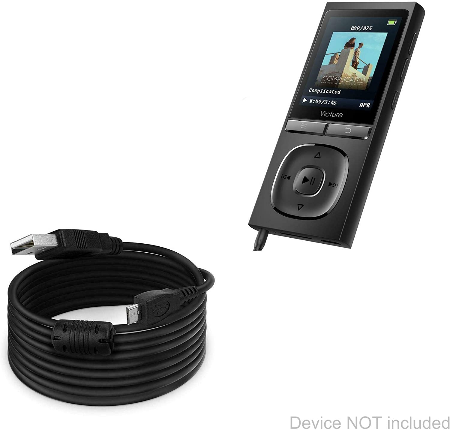 DirectSync Cable Victure M5 Cable BoxWave 15 ft Extra Long Charge and Sync Cable for Victure M5 Black