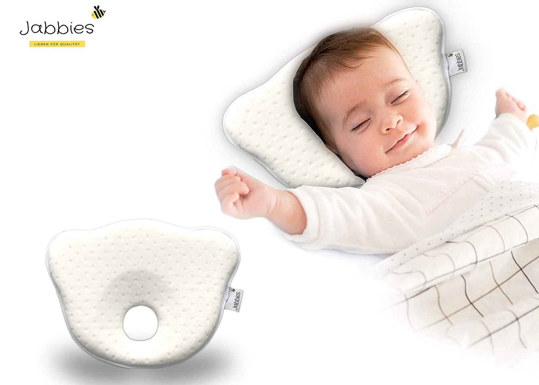 Jabbies Vorbeugung von Plagiozephalie | Orthop/ädisches Babykissen Babykopfkissen gegen Plattkopf SGS zertifiziert Schiefsch/ädel-Kopfform /& Verformung atmungsaktiv /& weich mit Memory Foam