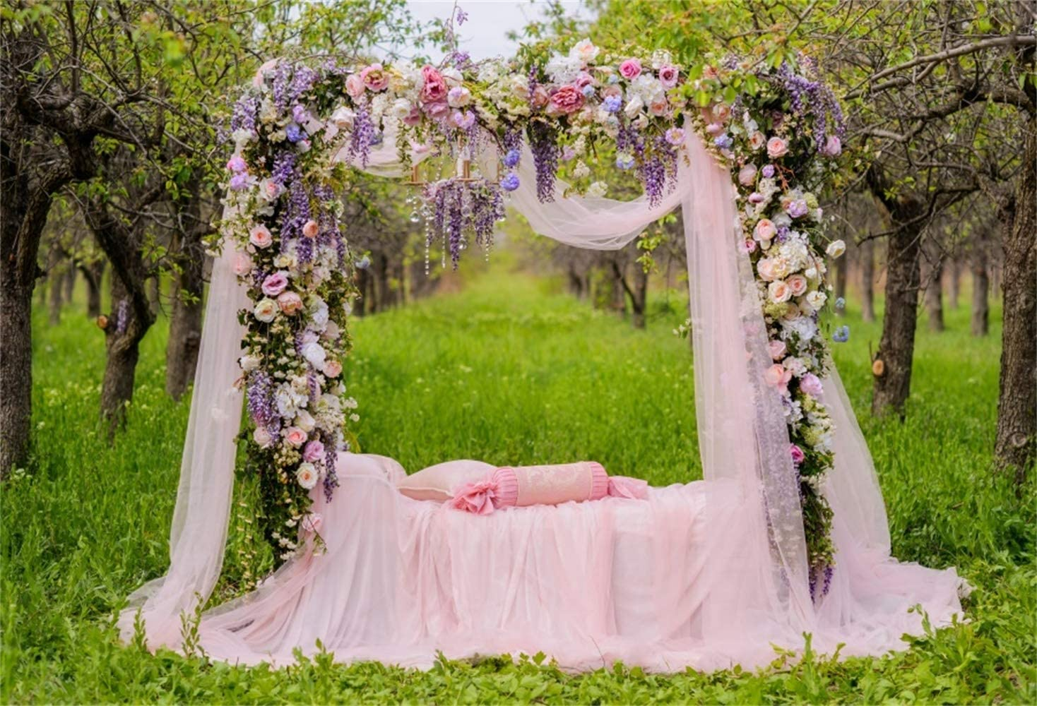 9x6ft Beautiful Flower Decorated Romantic Wedding Bed Background Spring Orchard Polyester Photography Backdrops Pink Candy Shape Pillow Gauze Newlywed Portraits Shoot Wedding Photo Studio