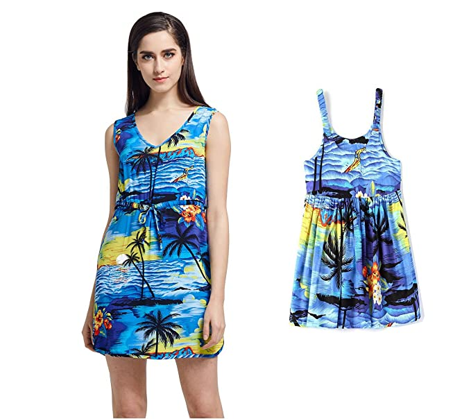 d6ca2aa9ca Matching Mother Daughter Hawaiian Luau Outfit Lady Tunic Slip on Dress Girl  Dress Blue Sunset S