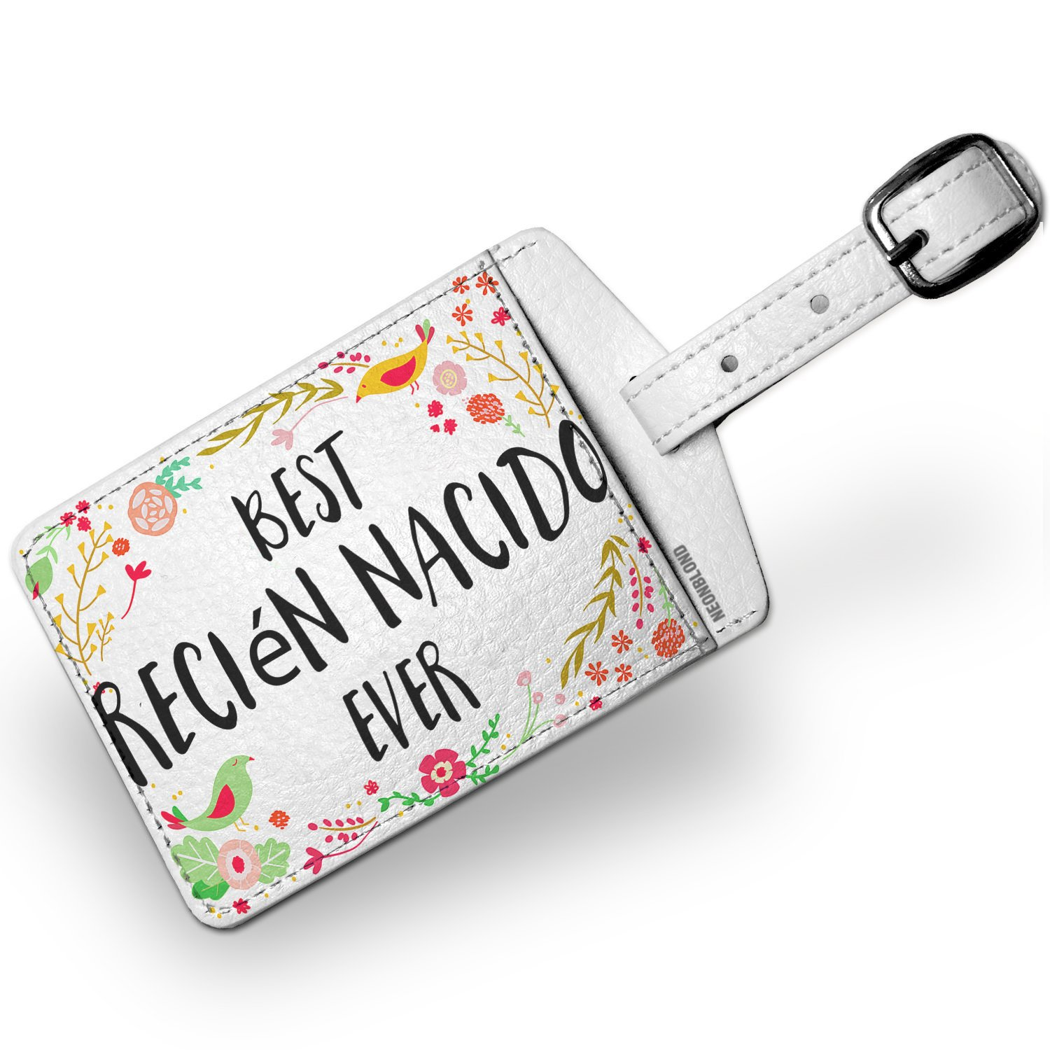 Amazon.com | Luggage Tag Happy Floral Border Recién Nacido ...