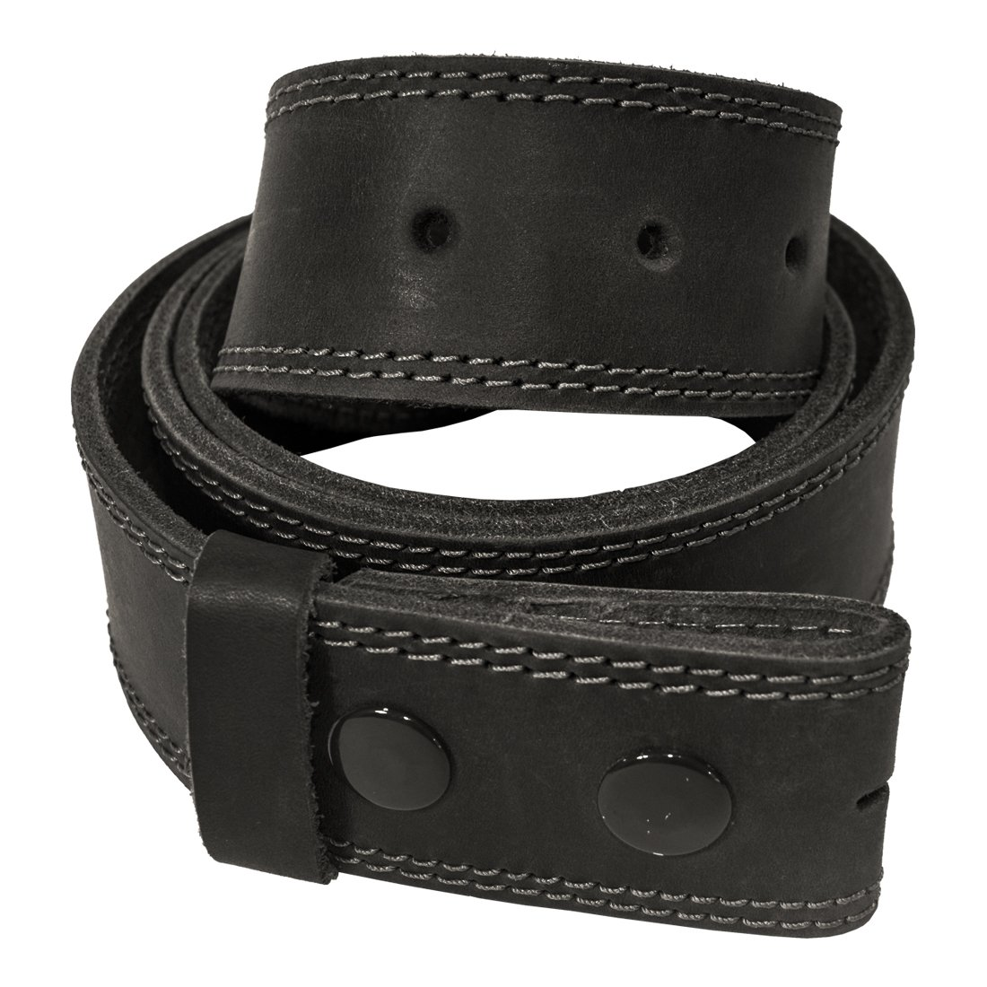 Two Row Stitch Thick Leather Snap On Belt Handmade by Hide & Drink Includes 101 Year Warranty :: Charcoal Black